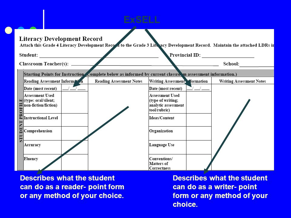 ExSELL Describes what the student can do as a reader- point form or any method of your choice.