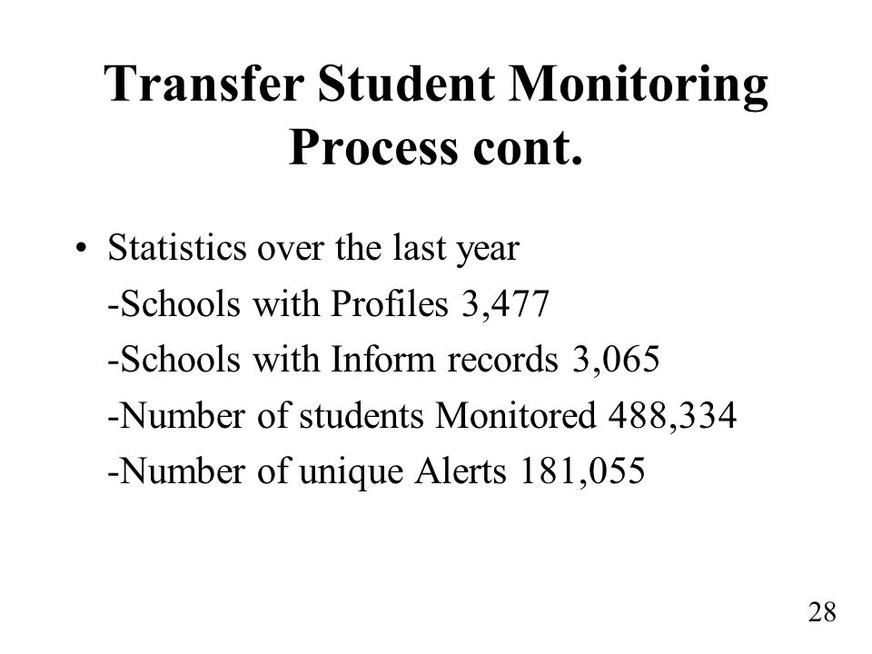 Transfer Student Monitoring Process cont.