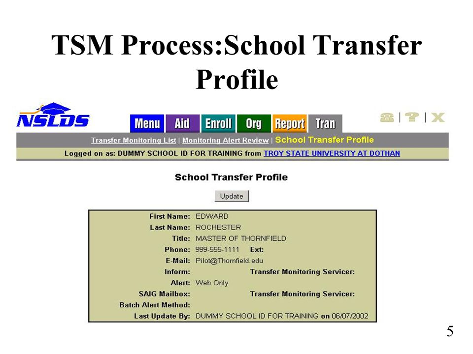 TSM Process:School Transfer Profile 5