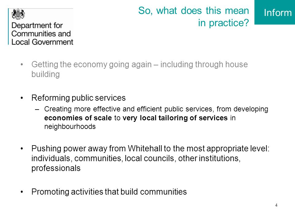 5 Community Rights (plus): Our Offer to Communities Neighbourhood Planning Greater influence over planning for neighbourhoods Community Right to Build New ways to gain planning permission Community Right to Bid Better opportunities to secure community assets Community Right to Challenge Community groups able to apply to run local public services Community Shares Raising local funds for community projects Neighbourhood Community Budgets Community influence over public service design & spend Parish Councils Making it easier to set up town and parish councils Progress: 510 Neighbourhood Plans +230 Assets listed +14 Challenge front runners +12 NCB pilots + 100 Community Shares registrations per year £64m package of expert support and grants Inform