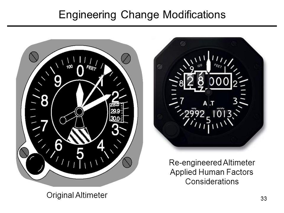 33 Engineering Change Modifications Original Altimeter Re-engineered Altimeter Applied Human Factors Considerations
