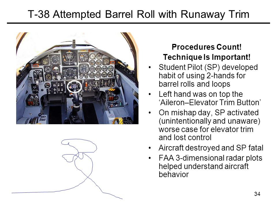 34 T-38 Attempted Barrel Roll with Runaway Trim Procedures Count.