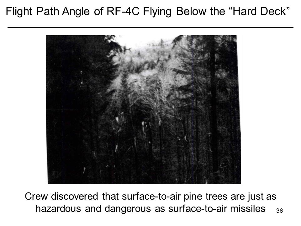 36 Flight Path Angle of RF-4C Flying Below the Hard Deck Crew discovered that surface-to-air pine trees are just as hazardous and dangerous as surface-to-air missiles