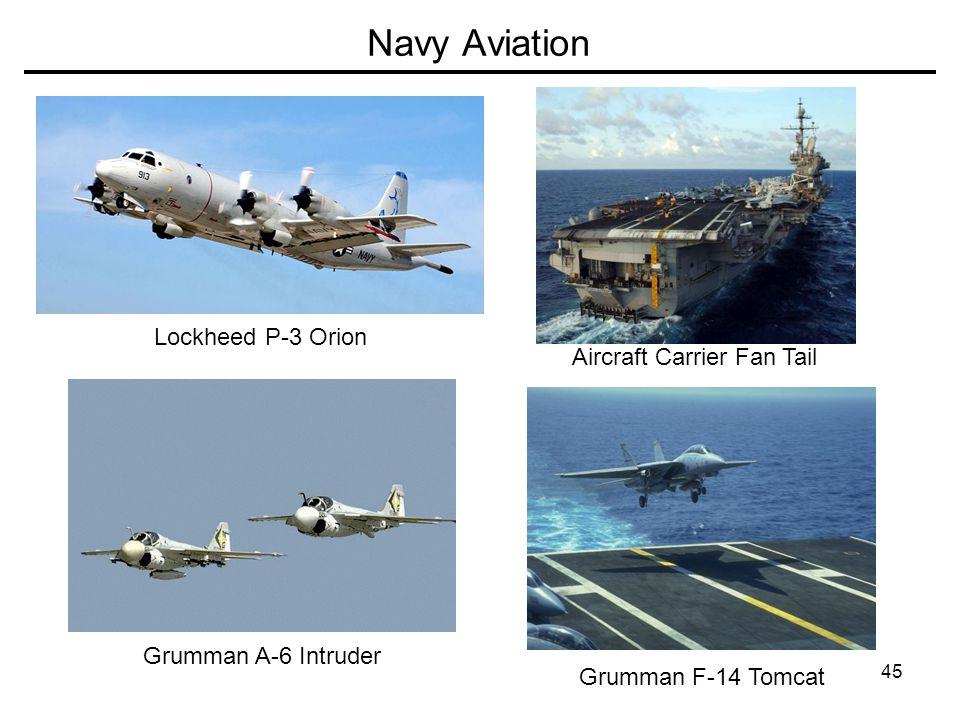 45 Navy Aviation Lockheed P-3 Orion Grumman A-6 Intruder Grumman F-14 Tomcat Aircraft Carrier Fan Tail