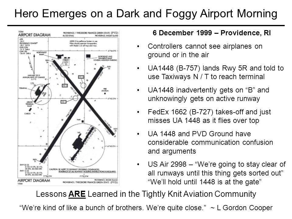51 Hero Emerges on a Dark and Foggy Airport Morning Lessons ARE Learned in the Tightly Knit Aviation Community We're kind of like a bunch of brothers.