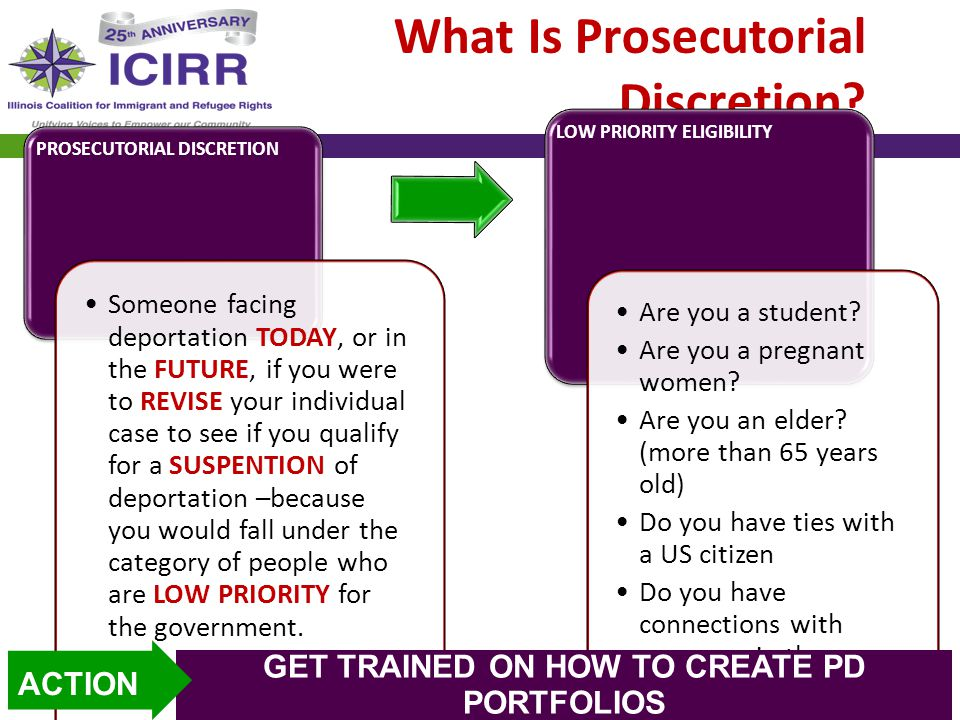 What Is Prosecutorial Discretion? PROSECUTORIAL DISCRETION Someone facing deportation TODAY, or in the FUTURE, if you were to REVISE your individual c
