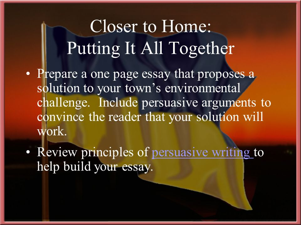 Prepare a one page essay that proposes a solution to your town's environmental challenge.