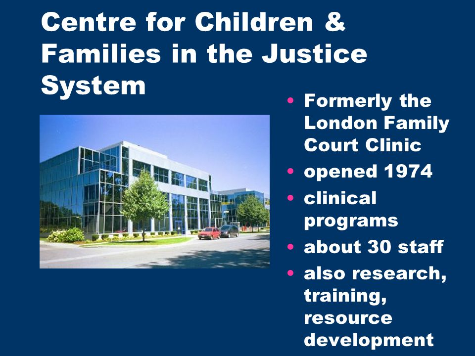 Formerly the London Family Court Clinic opened 1974 clinical programs about 30 staff also research, training, resource development