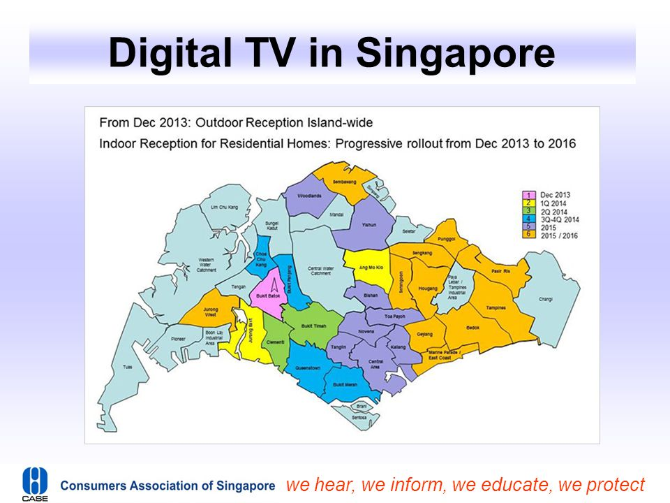 we hear, we inform, we educate, we protect Digital TV in Singapore  Analogue TV signals will continue to be available for at least 2 years from December 2013 until the switchover to digital broadcasting signals is completed between 2015 to 2020