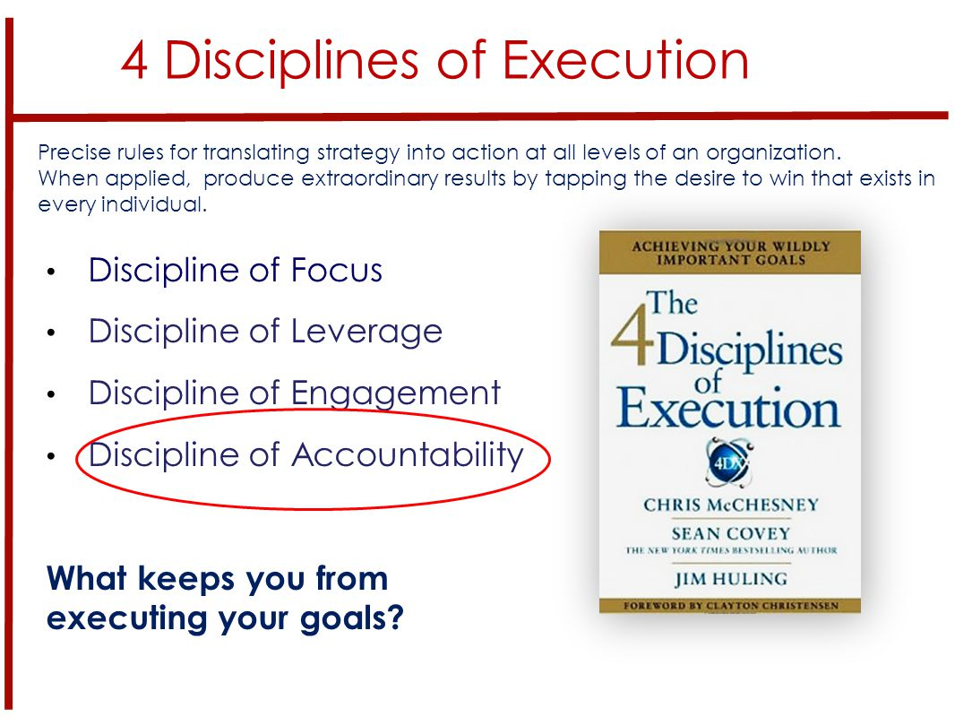 4 Disciplines of Execution Discipline of Focus Discipline of Leverage Discipline of Engagement Discipline of Accountability What keeps you from executing your goals.