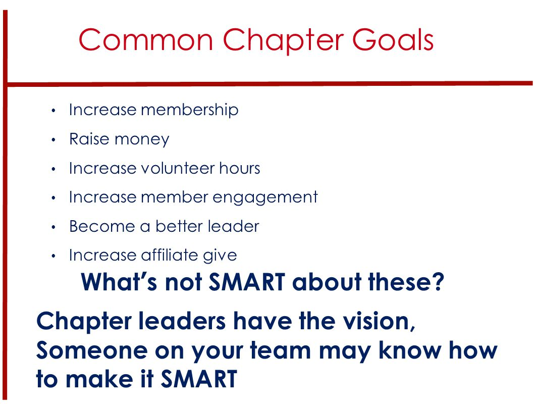 Common Chapter Goals Increase membership Raise money Increase volunteer hours Increase member engagement Become a better leader Increase affiliate give What's not SMART about these.
