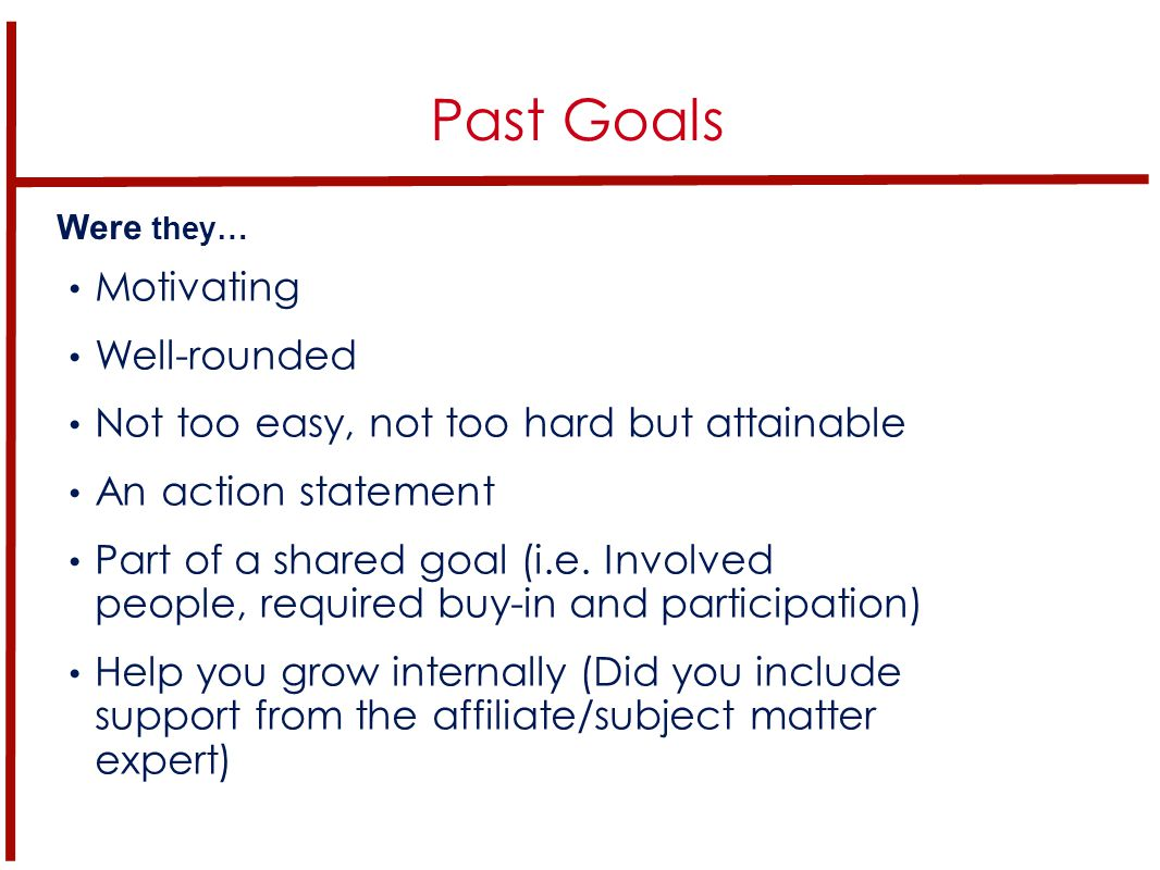 When do we set goals in YP Chapters.How often do you check on your goals.