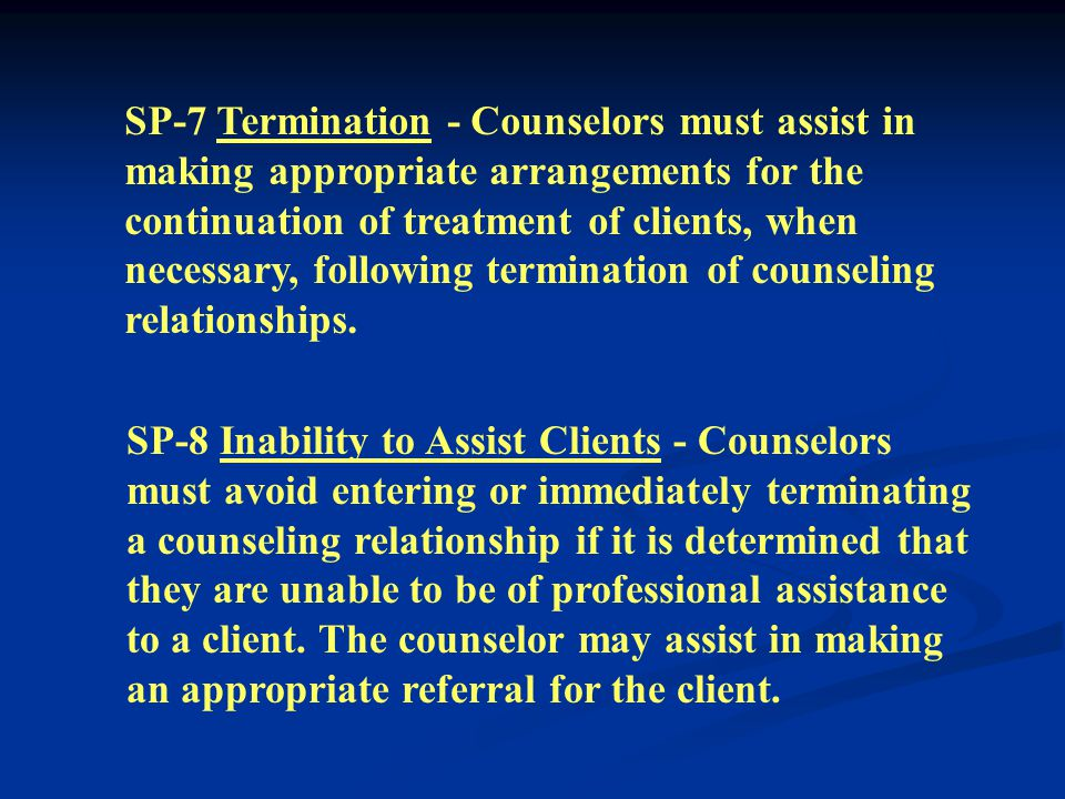 SP-5 Protecting Clients During Group Work - Counselors must take steps to protect clients from physical or psychological trauma resulting from interactions during group work.