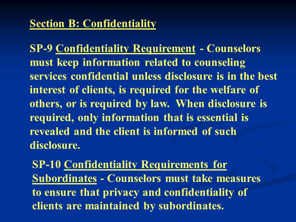 SP-7 Termination - Counselors must assist in making appropriate arrangements for the continuation of treatment of clients, when necessary, following termination of counseling relationships.