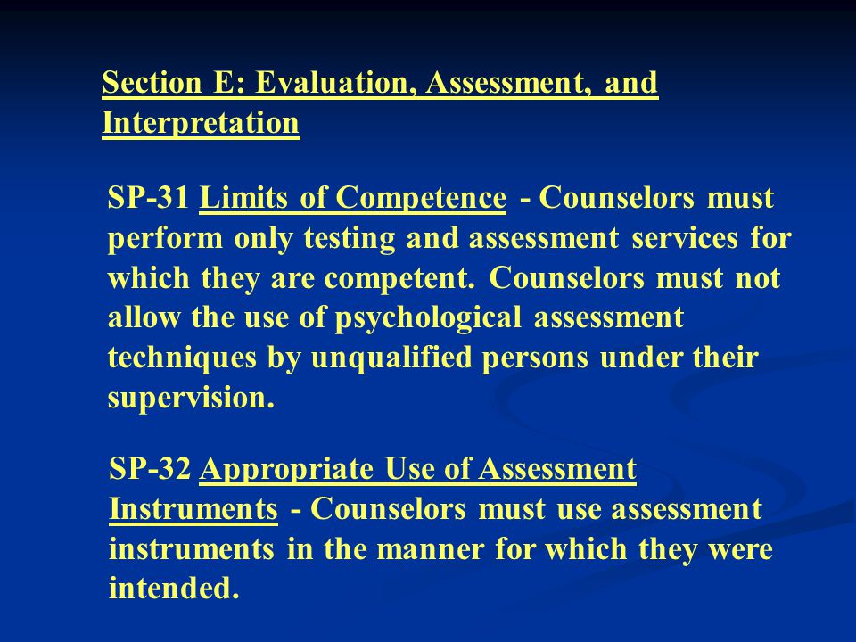 Section D: Relationship With Other Professionals SP-29 Accepting Fees from Agency Clients - Counselors must not accept fees or other remuneration for consultation with persons entitled to such services through the counselor s employing agency or institution.