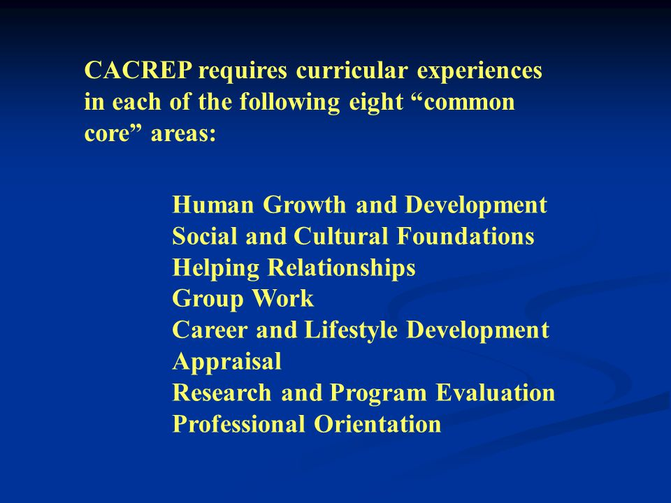 Programs accredited by the Council for the Accreditation of Counseling and Related Educational Programs (CACREP) require a minimum of 48 semester hour