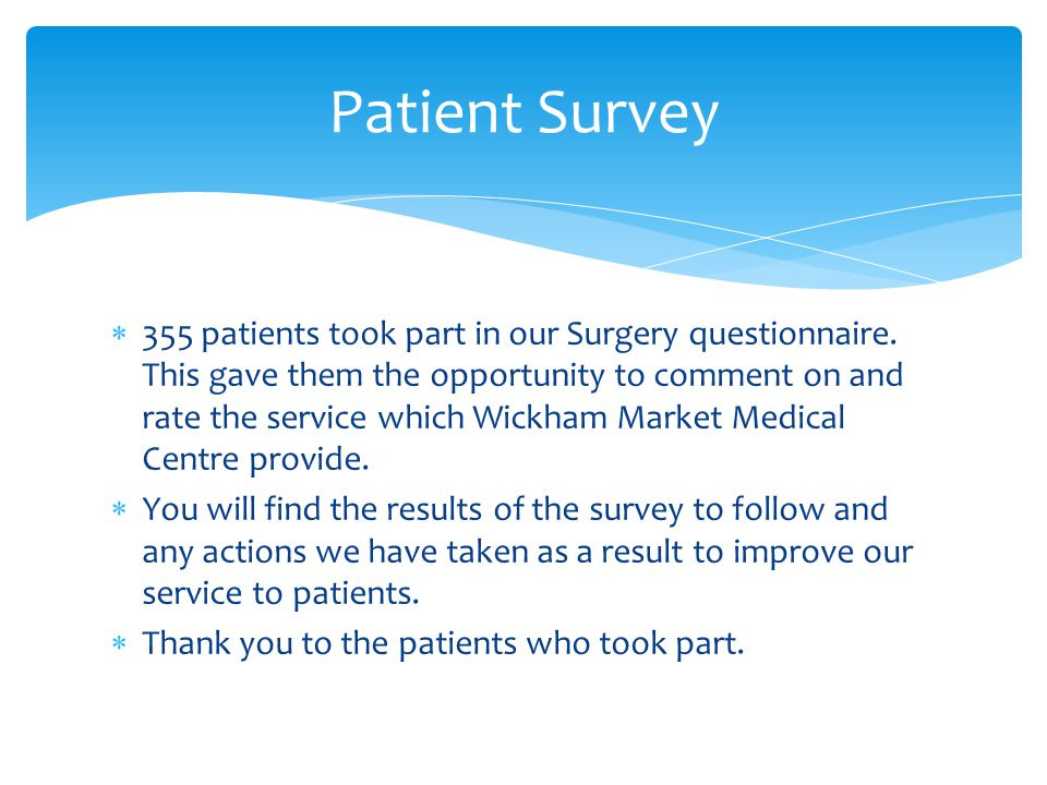  355 patients took part in our Surgery questionnaire.