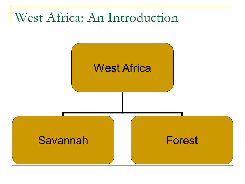 West Africa: An Introduction West Africa SavannahForest