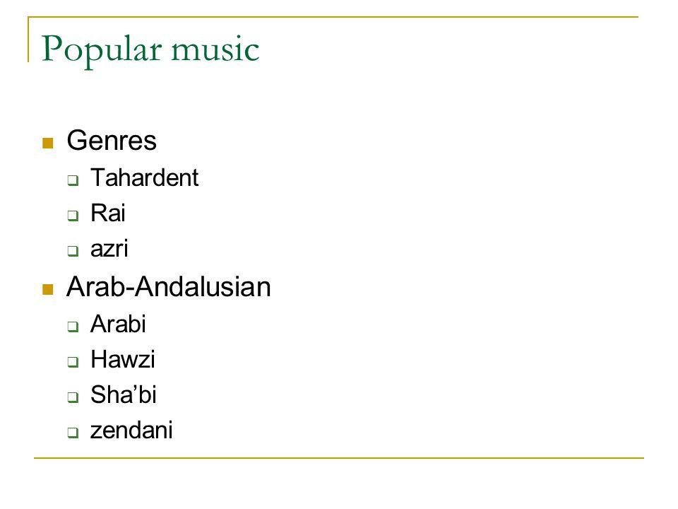 Popular music Genres  Tahardent  Rai  azri Arab-Andalusian  Arabi  Hawzi  Sha'bi  zendani