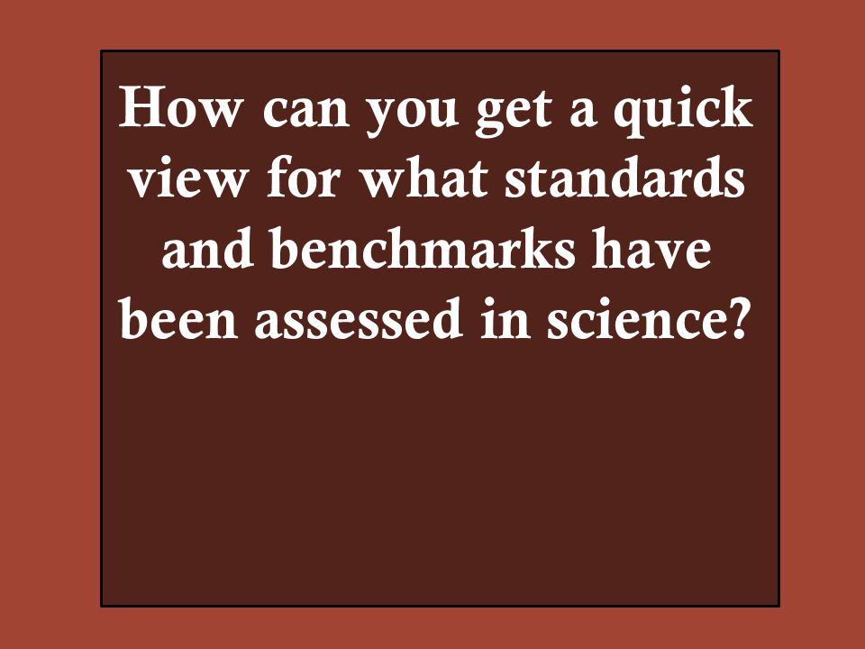 How can you get a quick view for what standards and benchmarks have been assessed in science?