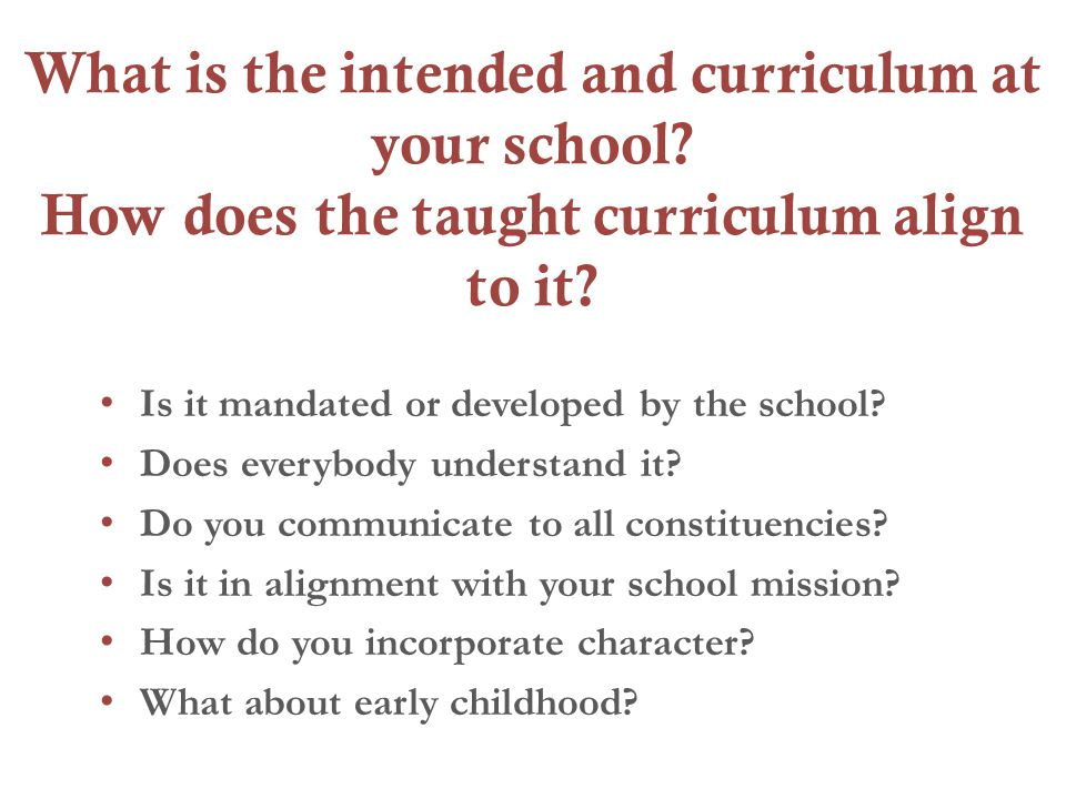 What is the intended and curriculum at your school.