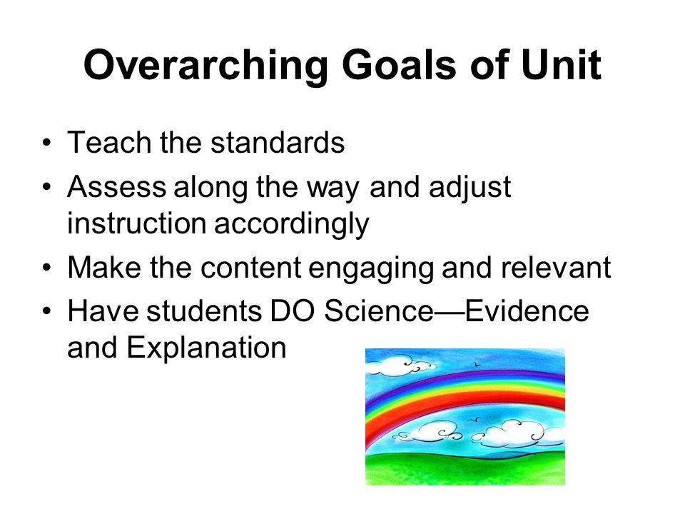 Overarching Goals of Unit Teach the standards Assess along the way and adjust instruction accordingly Make the content engaging and relevant Have students DO Science—Evidence and Explanation