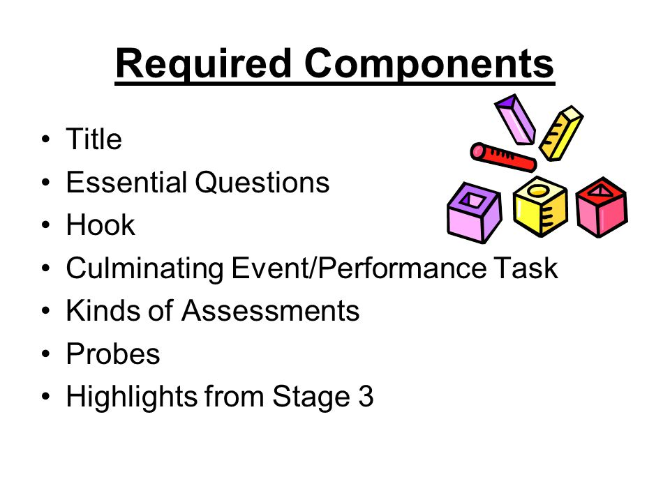 Required Components Title Essential Questions Hook Culminating Event/Performance Task Kinds of Assessments Probes Highlights from Stage 3