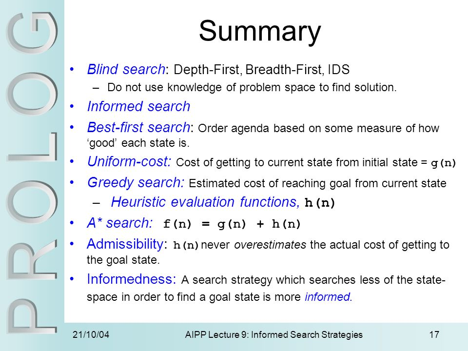 21/10/04AIPP Lecture 9: Informed Search Strategies17 Summary Blind search: Depth-First, Breadth-First, IDS –Do not use knowledge of problem space to f