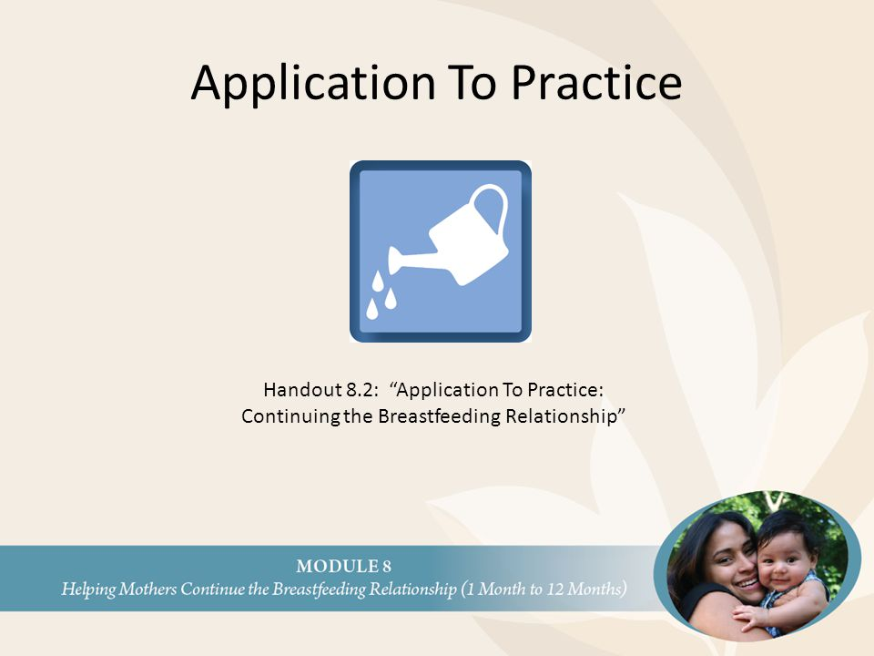 "Application To Practice Handout 8.2: ""Application To Practice: Continuing the Breastfeeding Relationship"""