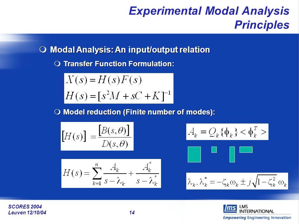SCORES 2004 Leuven 12/10/04 14 Experimental Modal Analysis Principles mModal Analysis: An input/output relation mTransfer Function Formulation: mModel