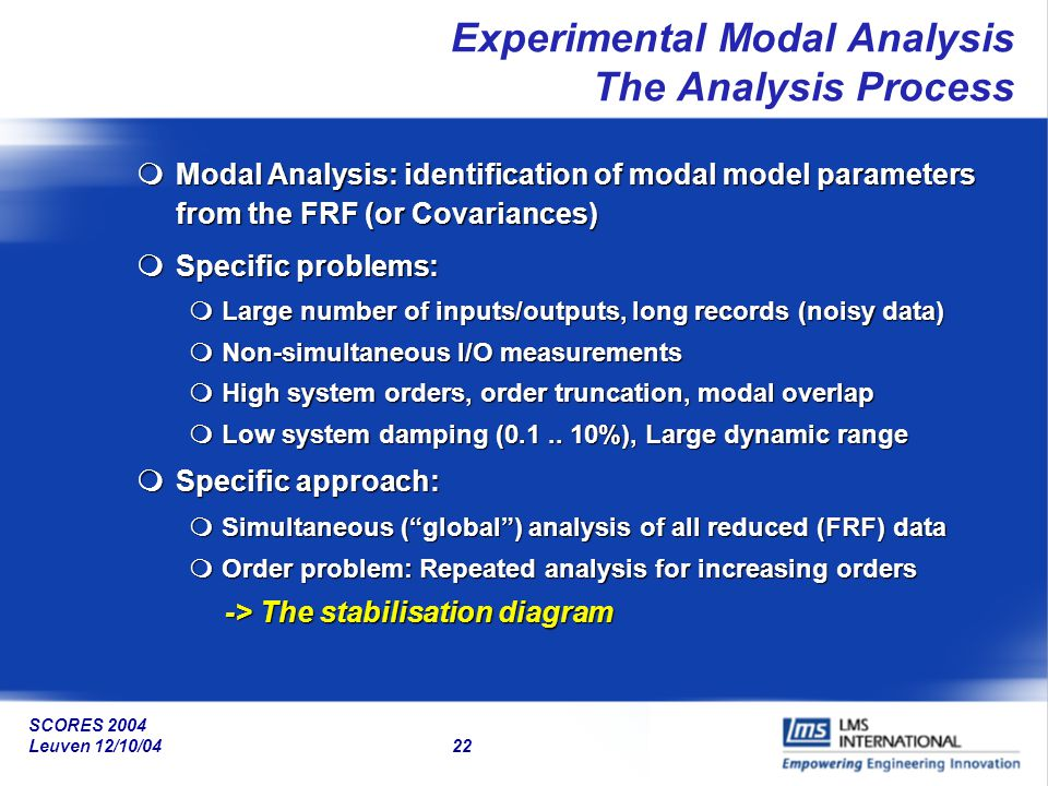 SCORES 2004 Leuven 12/10/04 22 Experimental Modal Analysis The Analysis Process mModal Analysis: identification of modal model parameters from the FRF