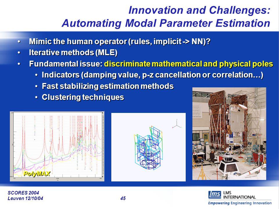 SCORES 2004 Leuven 12/10/04 45 Mimic the human operator (rules, implicit -> NN)?Mimic the human operator (rules, implicit -> NN)? Iterative methods (M