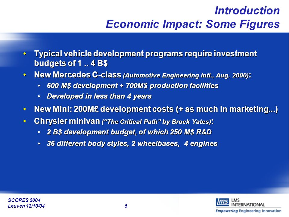 SCORES 2004 Leuven 12/10/04 5 Introduction Economic Impact: Some Figures Typical vehicle development programs require investment budgets of 1.. 4 B$Ty