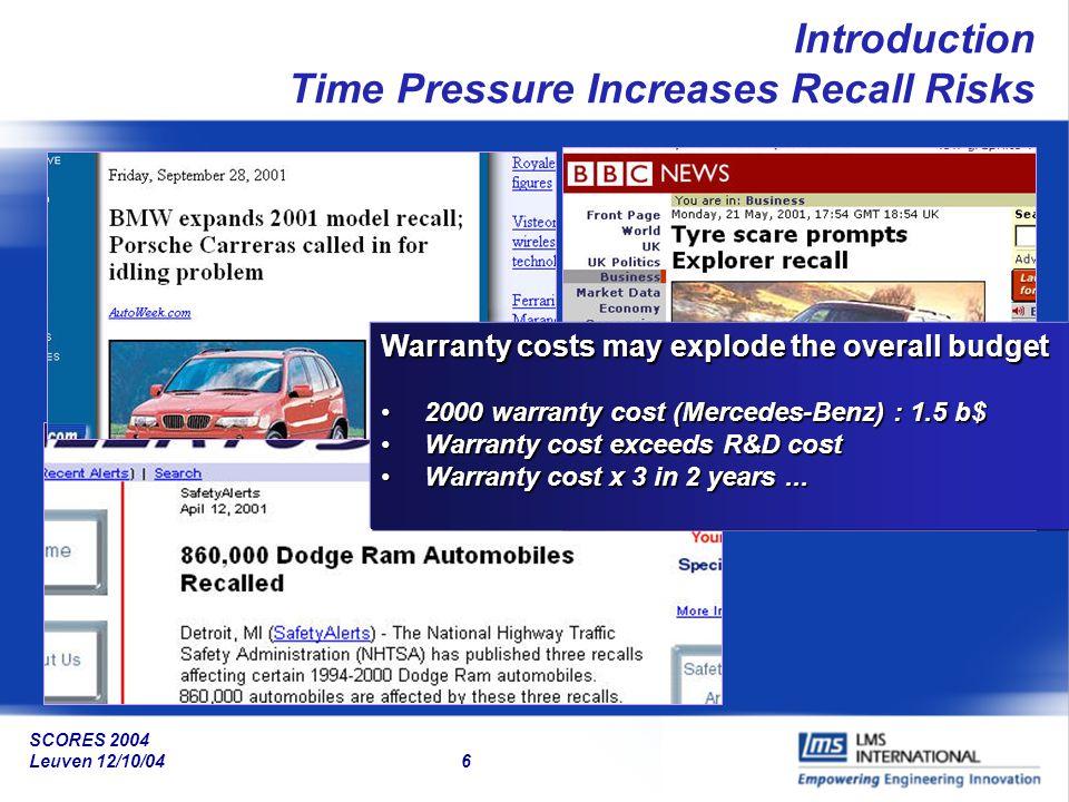 SCORES 2004 Leuven 12/10/04 47 HSS Engine Mounts Bushings Subframe&Crossmember BodyVibro-acoustics Engine&Brackets Hybrid System Synthesis Innovative Applications: Building Hybrid System Models