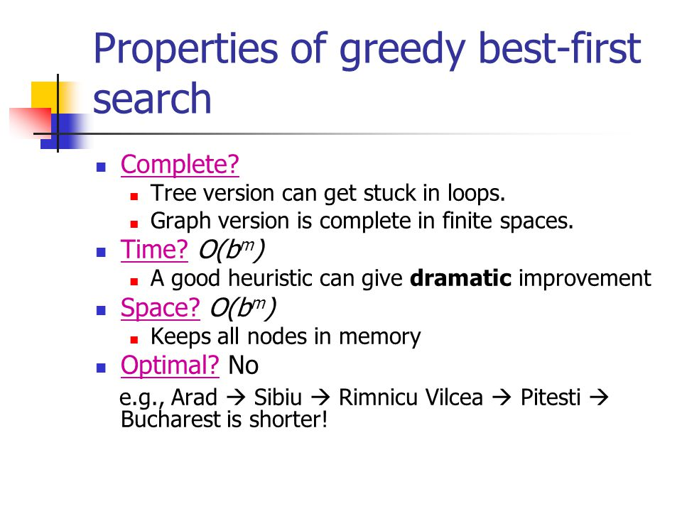 Properties of greedy best-first search Complete? Tree version can get stuck in loops. Graph version is complete in finite spaces. Time? O(b m ) A good