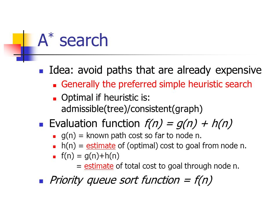 A * search Idea: avoid paths that are already expensive Generally the preferred simple heuristic search Optimal if heuristic is: admissible(tree)/consistent(graph) Evaluation function f(n) = g(n) + h(n) g(n) = known path cost so far to node n.