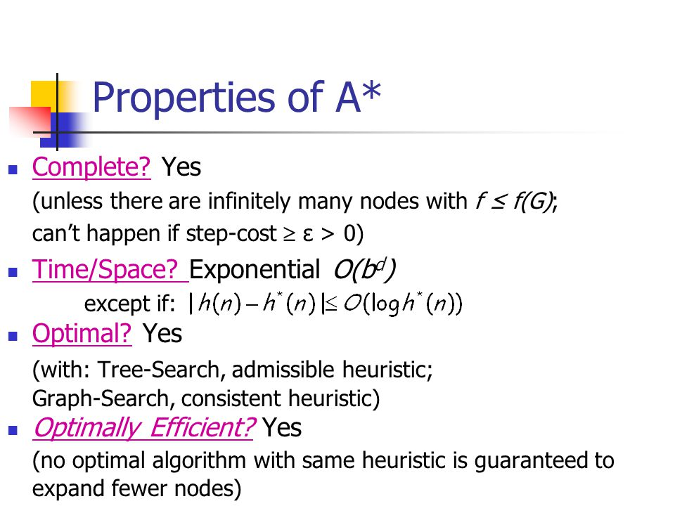 Properties of A* Complete? Yes (unless there are infinitely many nodes with f ≤ f(G); can't happen if step-cost  ε > 0) Time/Space? Exponential O(b d
