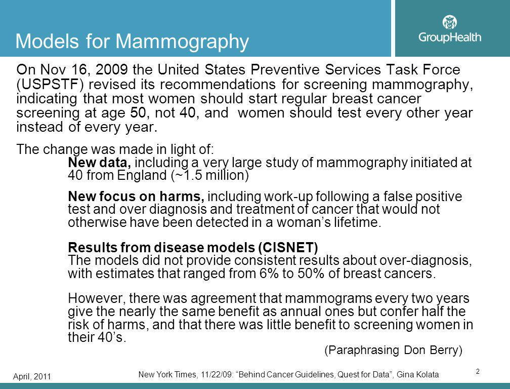 April, 2011 2 Models for Mammography On Nov 16, 2009 the United States Preventive Services Task Force (USPSTF) revised its recommendations for screening mammography, indicating that most women should start regular breast cancer screening at age 50, not 40, and women should test every other year instead of every year.