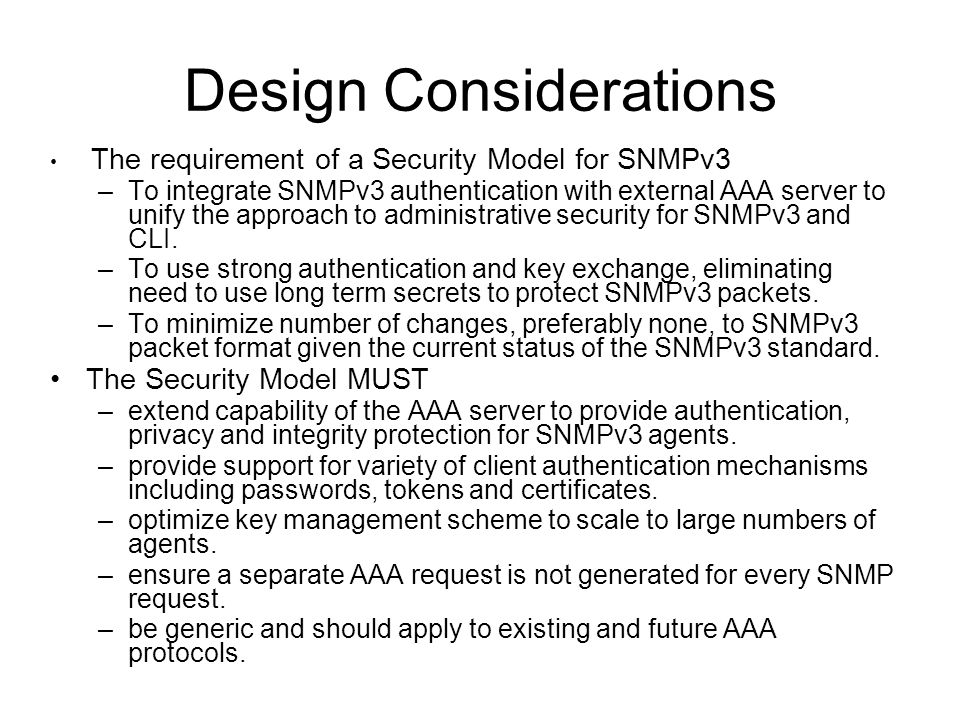 EUSM Architecture Overview SNMP Manager SNMPv3 Agent Key Request Protocol Return SNMPv3 session keys Return SNMPv3 localized auth.