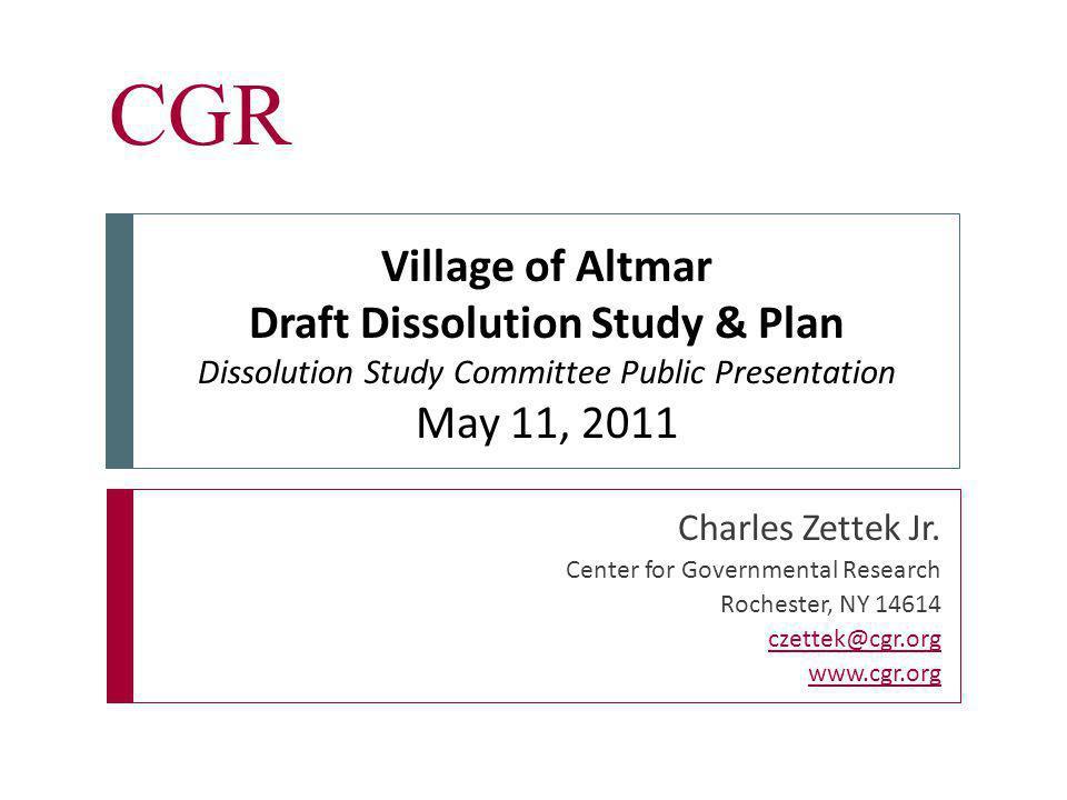 Inform & Empower CGR  Village will dissolve effective 12:00 a.m.