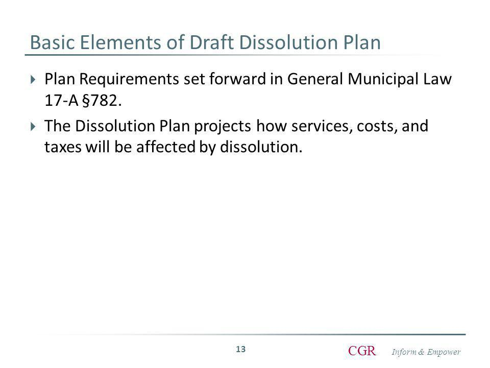 Inform & Empower CGR  Plan Requirements set forward in General Municipal Law 17-A §782.
