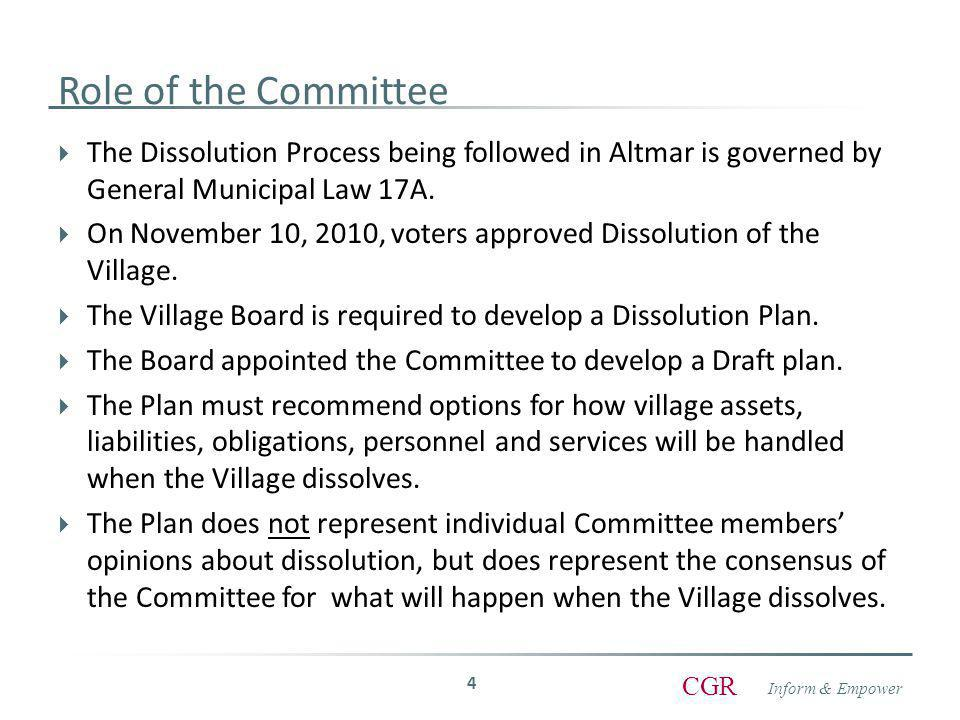 Inform & Empower CGR Committee Process Over the Last 4 Months  Committee has met 5 times.