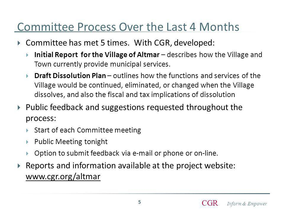 Inform & Empower CGR Committee Process Over the Last 4 Months  Committee has met 5 times.
