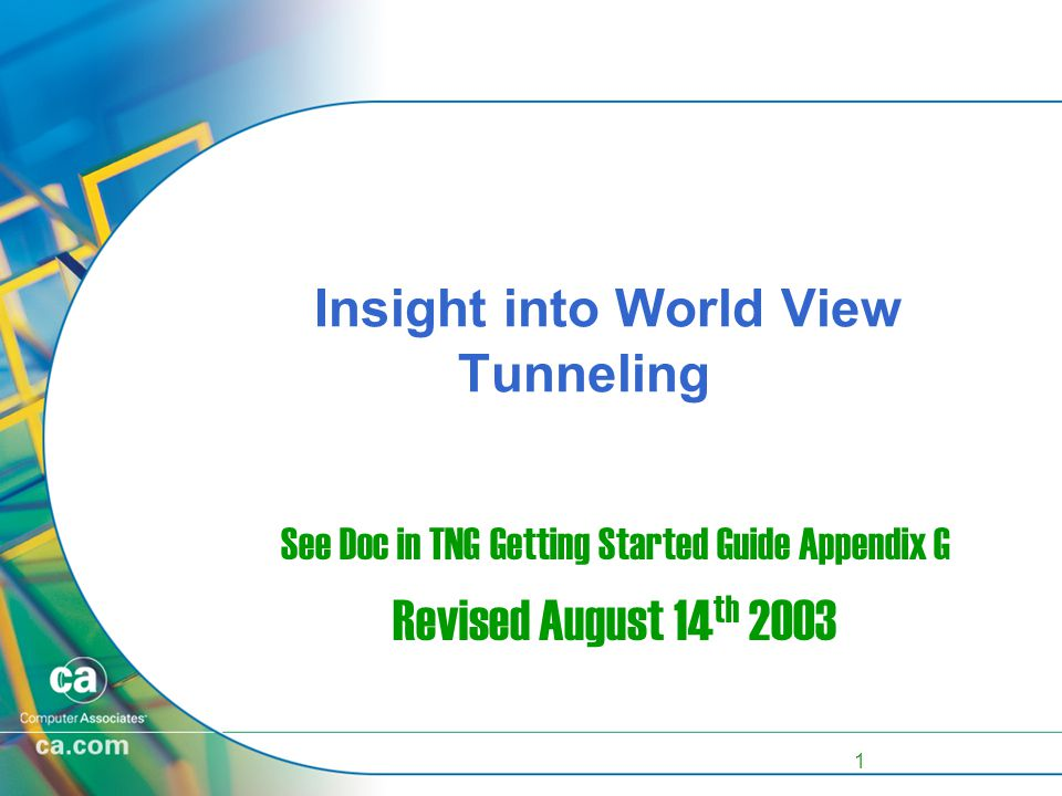 1 Insight into World View Tunneling See Doc in TNG Getting Started Guide Appendix G Revised August 14 th 2003
