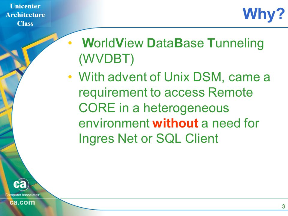 Unicenter Architecture Class 3 Why? WorldView DataBase Tunneling (WVDBT) With advent of Unix DSM, came a requirement to access Remote CORE in a hetero
