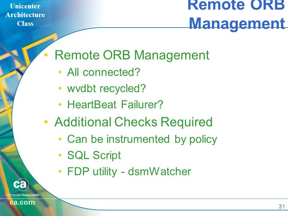 Unicenter Architecture Class 31 Remote ORB Management Remote ORB Management All connected.
