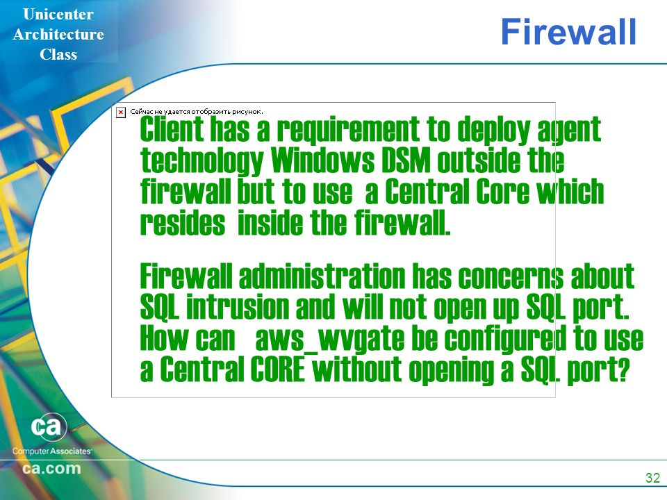 Unicenter Architecture Class 32 Firewall Client has a requirement to deploy agent technology Windows DSM outside the firewall but to use a Central Core which resides inside the firewall.