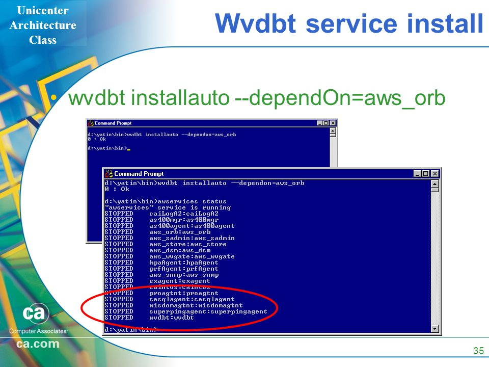 Unicenter Architecture Class 35 Wvdbt service install wvdbt installauto --dependOn=aws_orb