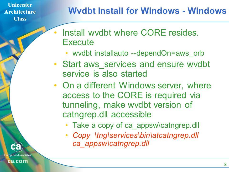 Unicenter Architecture Class 8 Wvdbt Install for Windows - Windows Install wvdbt where CORE resides. Execute wvdbt installauto --dependOn=aws_orb Star