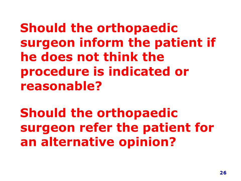 Should the orthopaedic surgeon inform the patient if he does not think the procedure is indicated or reasonable.